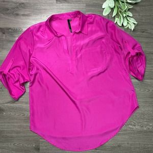 BELLATRIX 1X fuschia button down top